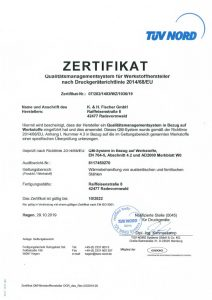 Zertifikat Druckgeräterichtlinie 2014-68-EU
